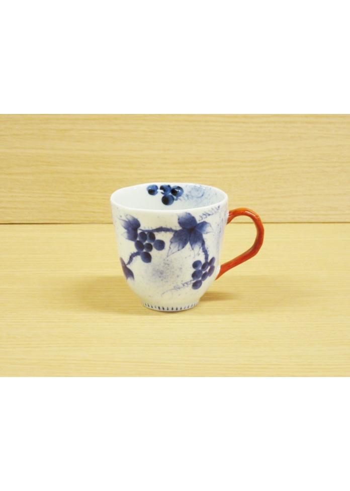 <オンワード マルシェ>篠英陶磁器 【有田焼】染錦和ぶどう(赤)・マグカップ