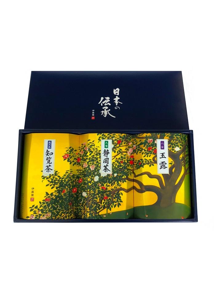 <オンワード マルシェ>伊藤園 TEA SHOP 日本の伝承(静岡茶・知覧茶・玉露セット)