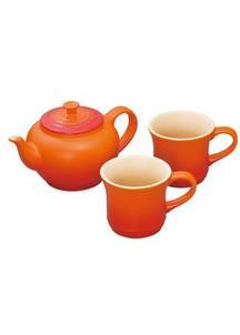 ル・クルーゼ ティーポット&マグ (SS) (2個入り)セット オレンジ