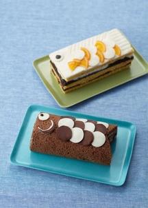 スイートチョコの鯉のぼりケーキと木苺の鯉のぼりロールケーキの2本セット