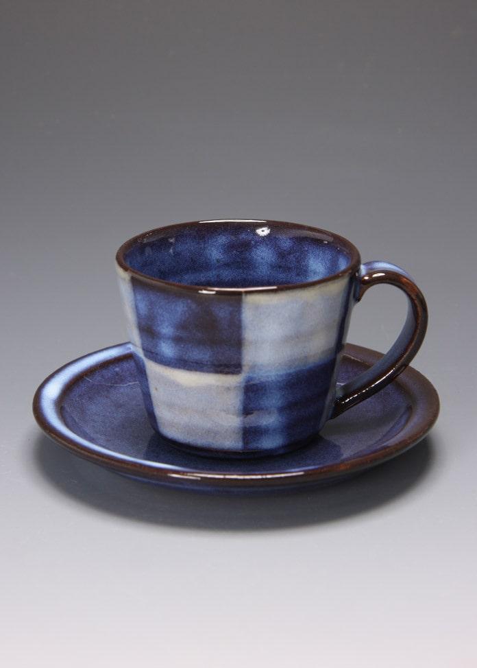 萩焼 松光山窯 青萩釉 コーヒー碗・皿