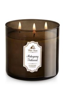 【Bath & Body Works】3-ウィック キャンドル_マホガニー チークウッドの香り