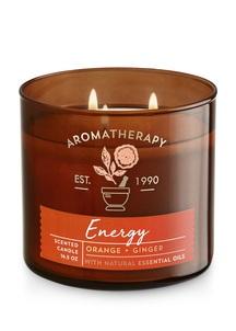 【Bath & Body Works】3-ウィック キャンドル_エナジー/オレンジ ジンジャーの香り