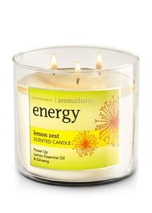 【Bath & Body Works】3-ウィック キャンドル_エナジー/レモンゼストの香り