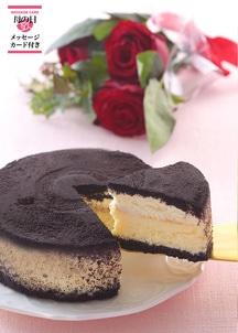 黒いチーズケーキとバラのセット