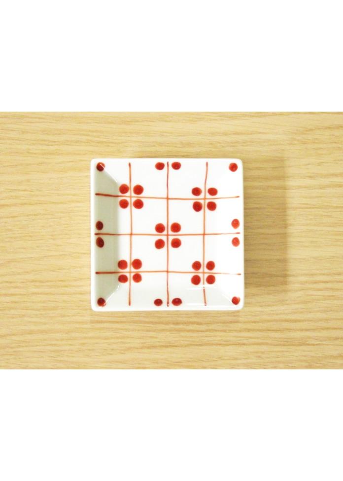 篠英陶磁器 格子四弁花紋 3.5寸角皿(青)