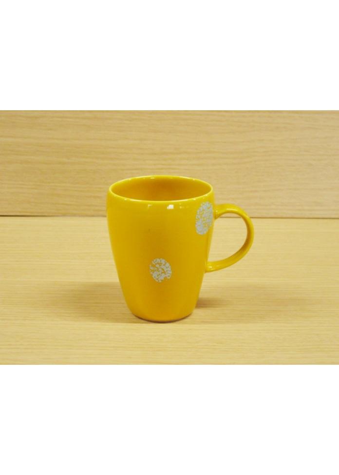 篠英陶磁器 【有田焼】プラチナドット(黄)・マグカップ