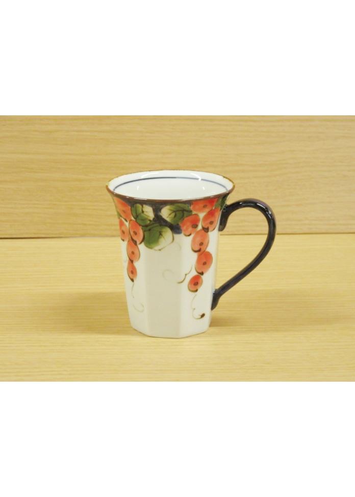 篠英陶磁器 【波佐見焼】色絵ぶどう八角(赤)・マグカップ