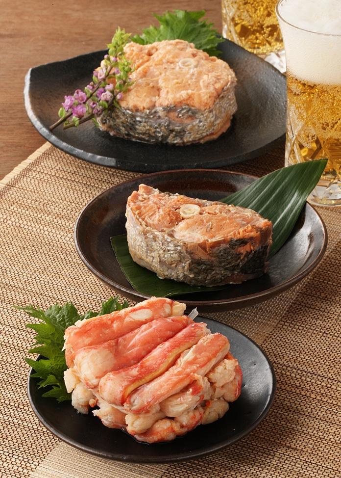加島屋 ずわいがに・キングサーモン水煮・紅鮭水煮 缶詰3缶セット
