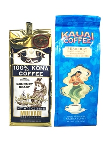 【ハワイコーヒー豆】Mulvadi 100%コナコーヒー・Kauai Coffee ピーベリーセット