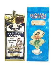 【ハワイコーヒー豆】Mulvadi 100%コナコーヒー・Kauai Coffee ミディアムロースト セット