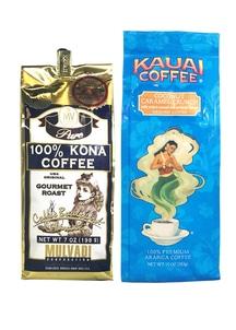 【ハワイコーヒー】Mulvadi 100%コナコーヒー豆・Kauai Coffee 挽き豆ココナッツキャラメルクランチセット