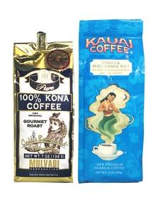 【ハワイコーヒー】Mulvadi 100%コナコーヒー豆・Kauai Coffee 挽き豆バニラマカダミア セット
