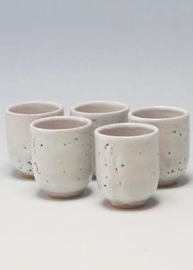 【萩焼】白萩釉 湯呑5客セット