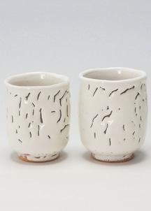 【萩焼】白萩釉 組湯呑