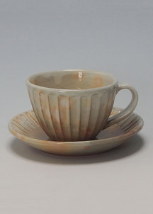 【萩焼】御本手 しのぎコーヒー碗皿