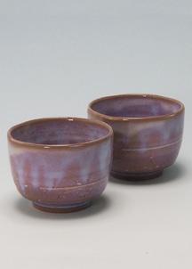 【萩焼】粉引紫 ペア碗セット