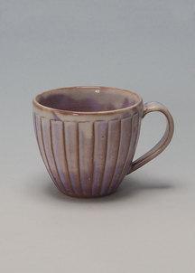 【萩焼】粉引紫  しのぎマグカップ