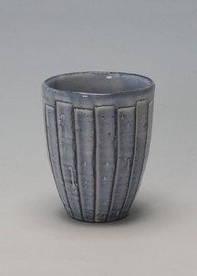 【萩焼】青釉 しのぎカップ