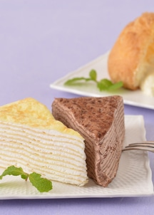 北海道のミルクを使ったミルクレープ&シュークリームセットミルクレープ2種×各1