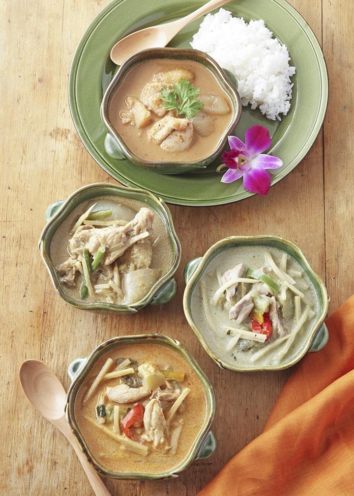 タイ料理専門店 パクチーデリ タイカレー4種8食入りとジャスミンライスセット