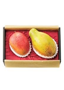 メキシコ産 アップルマンゴー(ケント種) & ハワイ産 パパイヤ(ソロ種) 各1個 化粧箱入