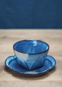 【萩焼】青萩釉 面取碗皿