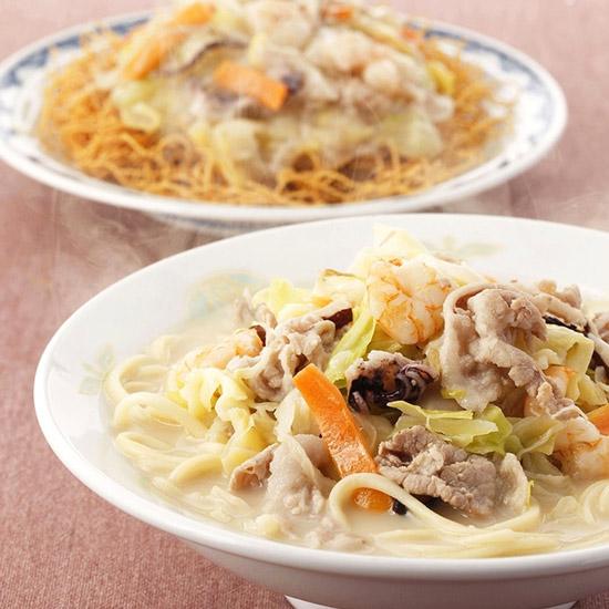 具材付きちゃんぽん・皿うどん(揚麺)詰合せ 各2食入